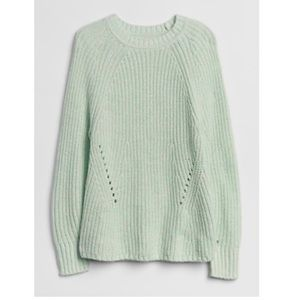 Marled Pointelle Crewneck Pullover Sweater nwt